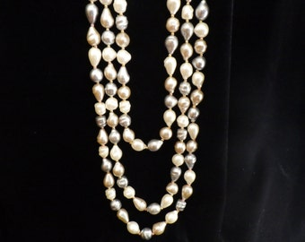 Vintage Long Beaded Necklace Faux Pearl