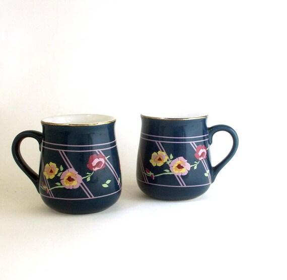 vintage floral cups sarma studios japan lattice rose pattern set of two cups