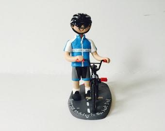 Biker / Cyclist Birthday Cake Topper - Man with bike/cycle birthday cake topper