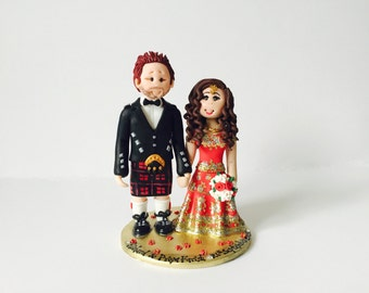 Personalised Asian Indian Bride & Scottish Groom Ethnic wedding cake topper