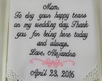 Embroidered Mother Of The Bride Wedding Handkerchief - Bridal Wedding Hankie - To Dry Your Happy Tears - Wedding Hankie - Free Gift Envelope