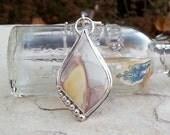 Sterling Silver Gemstone Pendant Necklace, Willow Creek Porcelain Jasper, Soft Pastel Neutral Colors, Bezel Set; Yellow, Grey, Tan