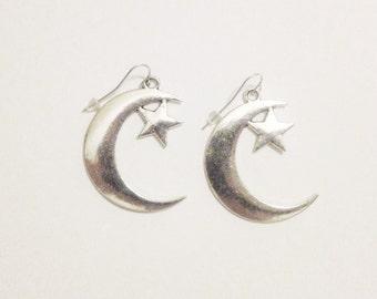 Magic girl silver moon and star earrings