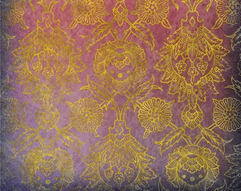 Downloadable Scrapbooking Paper, Violet Damask