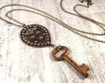 Vintage Key Necklace - Czech Rhinestones