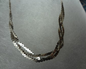 Silver Necklace 925 Sterling Silver Weaved Braided Triple Strand Design Birthday Gift Anniversary Womens 18 Inch Shiny Braid