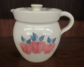 Paul Storie Pottery Marshall Texas Trio of Apples Pitcher with Lid