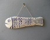FISH Decor / Wall Art / Fish on Thread / Ceramic Fish / BLUE Fish / Nautical Beach House Decor / Blue / Happiness / Sea