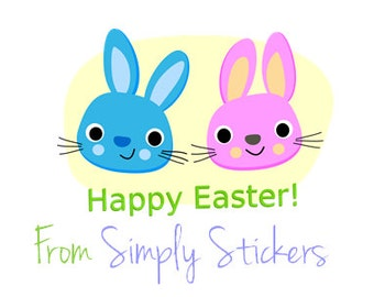 business easter stickers  30mm x 49mm rectangles