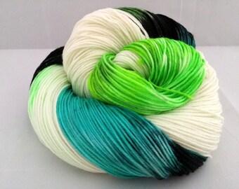 Hand dyed Shred the Gnar superwash merino sock yarn
