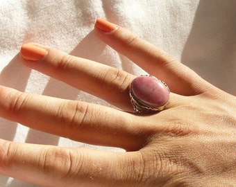 Pink Rhodonite - Sterling Silver - Ring - size 7.5