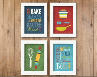 Kitchen Art Prints Subway Typography, Utensils, Pots, Pans, Words - Set of (4) 5x7, 8x10 or 11 x 14 // Kitchen Decor Wall Art - Unframed