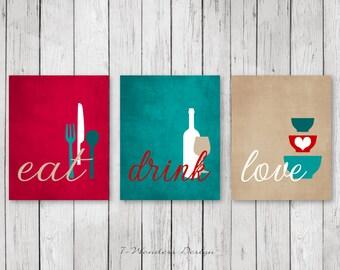 Kitchen Wall Art Print Set - Eat Drink Love -  Red, Teal, Tan, White // Modern Kitchen Decor // Set of (3) Many Sizes // Unframed
