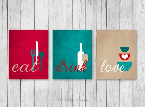Kitchen wall art print set eat drink love red teal tan for Black kitchen wall decor
