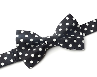Bow Tie - Black with White Polka Dots Bowtie