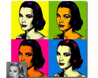 Set of four Custom portrait Andy Warhol style Pop art print - your picture - digital