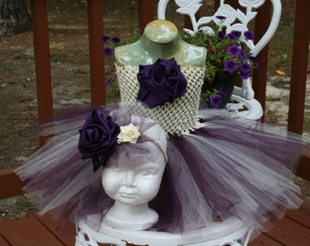 Pageant Boutique infant girls 2pc Plum Deep Purple and Ivory tulle tutu dress with matching hairbow size 3-6m 6m 6-9m 12m 18m 24m