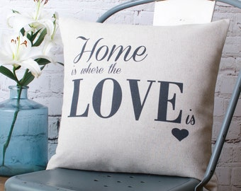 Personalised 'Home Is Where The Love Is' Customised Cushion Pillow Cover for New House Wedding Anniversary Couple