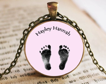 Personalized Baby Feet Image Pendant/Necklace Jewelry, Child Necklace Jewelry, Baby Gift Necklace, Photo Jewelry Glass Pendant Gift
