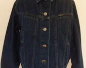 Vintage Denim Jacket Boho Lee Jean Jacket Dark Wash 80's Cotton Blend  Size L