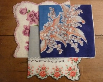 50's Handkerchiefs Collection of 3 Hankies Daffodils Roses Lily of the Valley All Cotton Squares