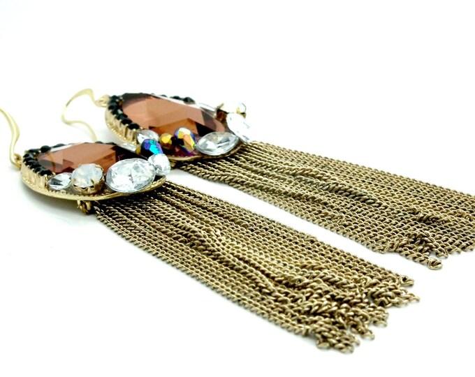 Long dangle earrings for women | Jewelry for wedding guests | Fashion jewelry | Women's long style earrings | Long evening earrings