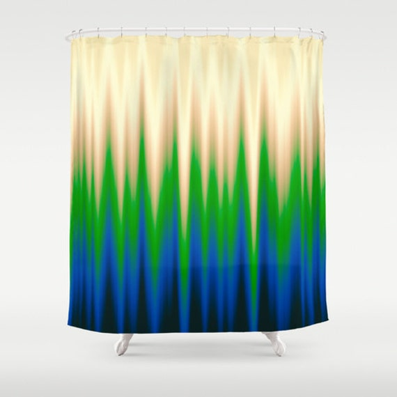 Green Shower Curtain Striped Curtains Solid Curtain Blue