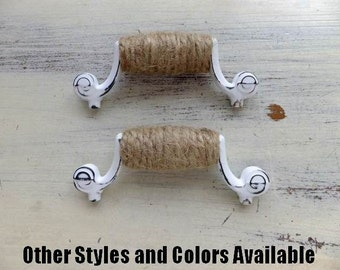 2 Rope Handles Drawer Pulls White Cabinet Hardware Shabby Chic Dresser Nautical Beach Cupboard Seaside Swirl Cottage 3inch ITEM DETAIL BELOW