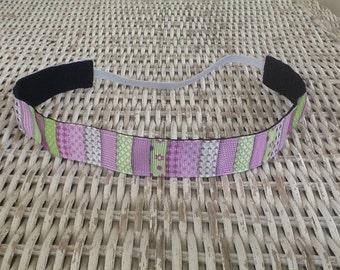 Purple Green Patchwork Headband - Girls Flower Headband