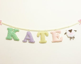4 Letters Made To Order name banner - Baby Girl Name wall Decor