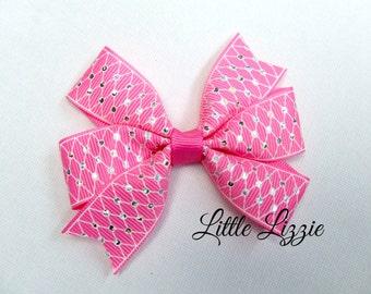 Hot pink pinwheel hair clip with laser foil dots girl toddler
