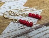 Country Red Beaded Earrings
