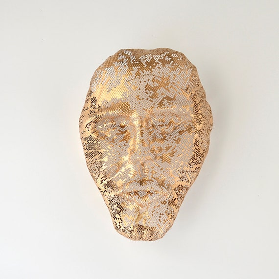 Decorative Wall Face Masks : Face wall decor metal sculpture mask home