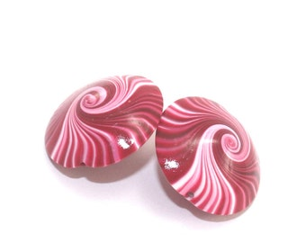 Polymer clay swirl beads in red, pink and white, lentil Beads, unique pattern, set of 2 elegant red beads, focal beads for jewelry making