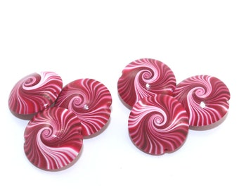 Focal beads for jewelry making, Lentil beads, Polymer clay swirl beads in red, pink and white, unique pattern, set of 6 elegant red beads