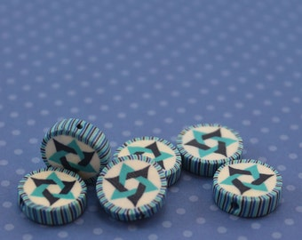 Star of David beads, polymer clay round flat beads, Jewish Symbol in blues turquoise and white, set of 6 Polymer clay beads