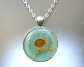 Wild Aster Real Pressed Wildflower Silver Plated Round Necklace