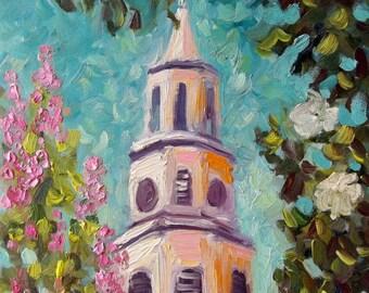 Landscape original oil painting Charleston church painting art Charleston original painting