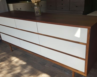 Custom to order midcentury modern 2 tone dresser