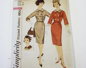 Womens Suit Pattern Simplicity 3588: Misses' Suit with Detachable Collar and Hat - UNCUT Size 14 - Sewing Pattern, Vintage Pattern