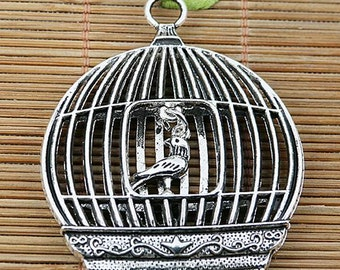 1pcs Tibetan silver plated bird cage charms EF2064