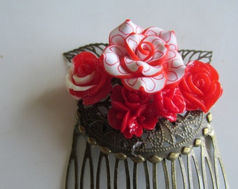 Red Hair Comb, Decorated Hair Comb