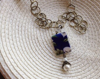 Blue floral necklace with glass italian beads and antique gold chain