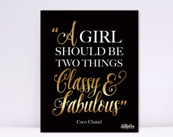 A Girl Should Be Two Things Classy and Fabulous Print, Coco Chanel Print, Coco Chanel Quote Print, Chanel Wall Art