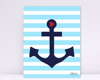 Anchor with Heart, Blue Stripes, Baby Nursery wall art, Art Decor, Nautical Art Decor, Children wall art, Nursery Print, Wall Decor