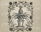 Pineapple Floral Instant graphic digital download image for iron on fabric transfer burlap decoupage scrapbook pillow card tote No.gt102