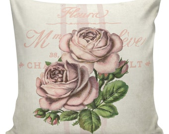 Spring Pillows, Botanical Pillows, Roses, Floral, Spring Decor, Cushion Covers, Throw Pillows, Made in USA, Cotton, Burlap,   #EHD0121