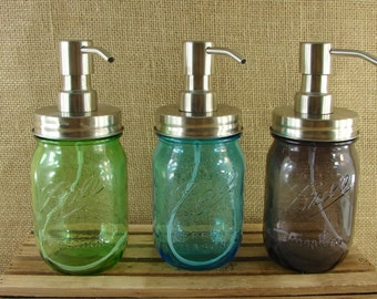 NEW - All Stainless Steel Mason Jar Foaming Soap Pump - Choose Your Jar Color