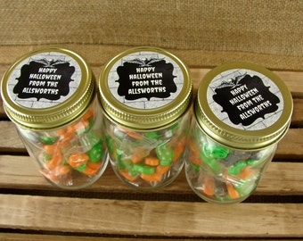 Halloween Personalized Mini Mason Favor Jars - Skull and Chalkboard Design - Personalized Favor Jars - 24 pieces