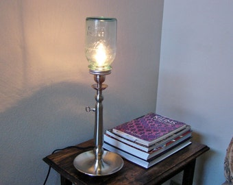Vintage Blue Ball Mason Jar Tall Table Lamp With Built in Dimmer - Choose Pint or Quart Blue Mason Jar